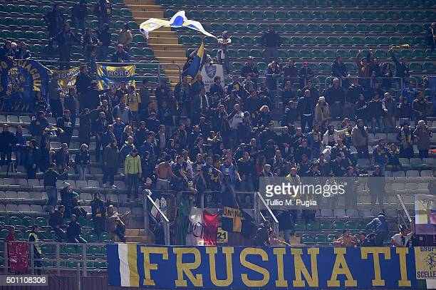Fans of Frosinone show their support during the Serie A match between US Citta di Palermo v Frosinone Calcio at Stadio Renzo Barbera on December 12...