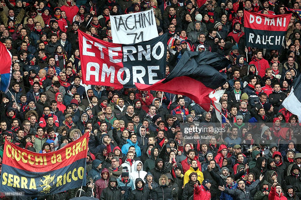 Fans of Genoa CFC during the Serie A match between Genoa CFC and AC Siena at Stadio Luigi Ferraris on March 30, 2013 in Genoa, Italy.