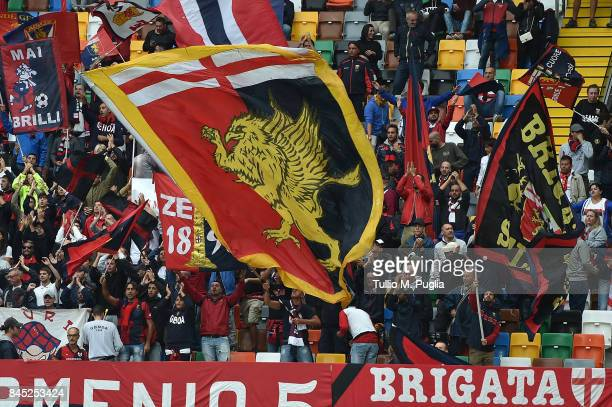 Fans of Genoa show their suppoer during the Serie A match between Udinese Calcio and Genoa CFC at Stadio Friuli on September 10 2017 in Udine Italy