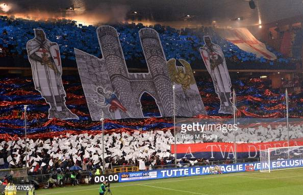 Fans of Genoa show their support during the Serie A match between Genoa CFC and UC Sampdoria at Stadio Luigi Ferraris on February 3 2014 in Genoa...