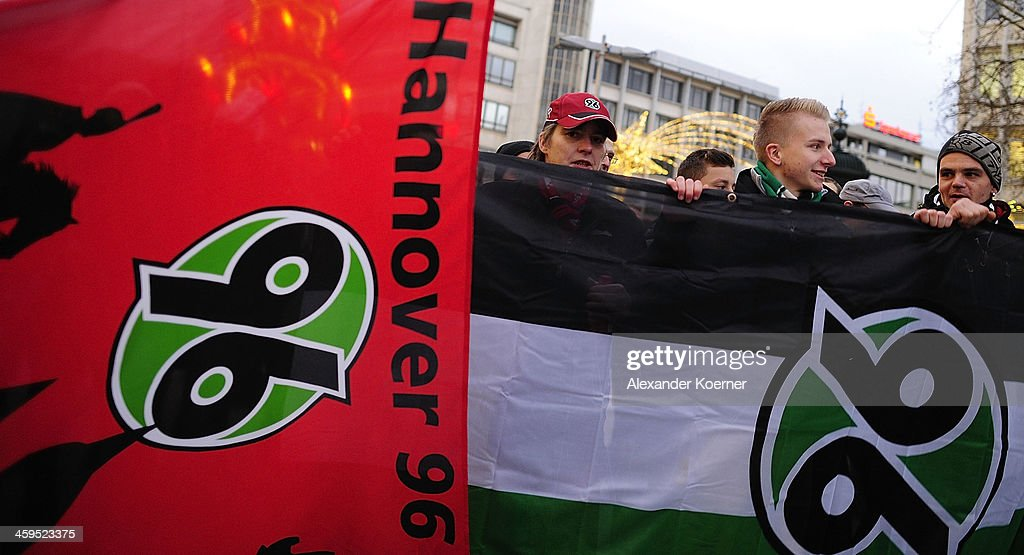 Fans of German Bundesliga club Hannover 96 demonstrate in support of Mirko Slomka on December 27, 2013 in Hanover, Germany. President of Hannover 96, Martin Kind, dismissed their head coach Mirko Slomka today after 4 years with the club. The club struggled during the first half of the season and is currently in 13th place with 18 points.