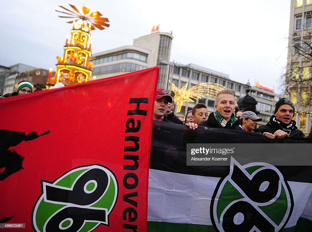 Fans of German Bundesliga club Hannover 96 demonstrate in support Mirko Slomka on December 27, 2013 in Hanover, Germany. President of Hannover 96, Martin Kind, dismissed their head coach Mirko Slomka today after 4 years with the club. The club struggled during the first half of the season and is currently in 13th place with 18 points.