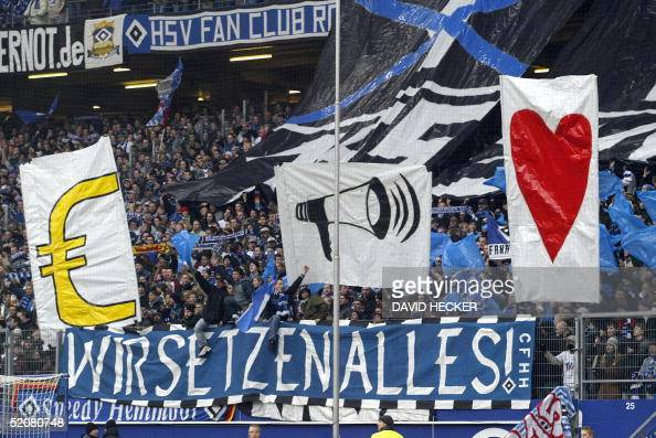 LEAGUE Fans of German first division football club Hamburg display banners during the 19th day Bundesliga football match of Hamburg against Mainz at...