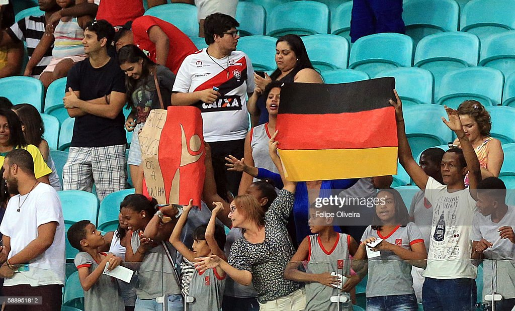 Fans of Germany after the Women's Football Quarterfinal match at Arena Fonte Nova Stadium on Day 7 of the Rio 2016 Olympic Games on August 12, 2016 in Salvador, Brazil.