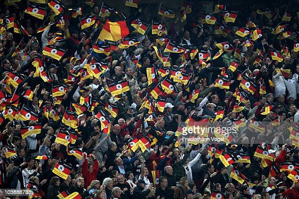 Fans of Germany celebrate during the EURO 2012 Group A Qualifier match between Germany and Azerbaijan at RheinEnergie stadium on September 7 2010 in...