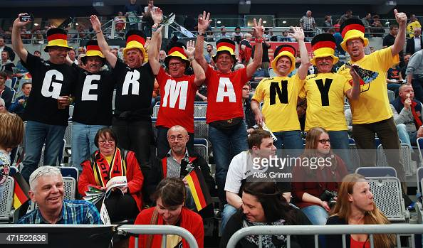 Fans of Germany enjoy the atmosphere prior to the European Handball Championship 2016 Qualifier match between Germany and Spain at SAP Arena on April...