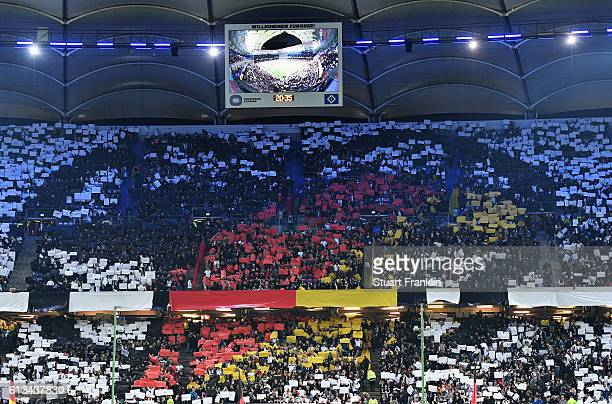 Fans of Germany make a choreograpy during the FIFA 2018 World Cup Qualifying match between Germany and Czech Republic at Volksparkstadion on October...