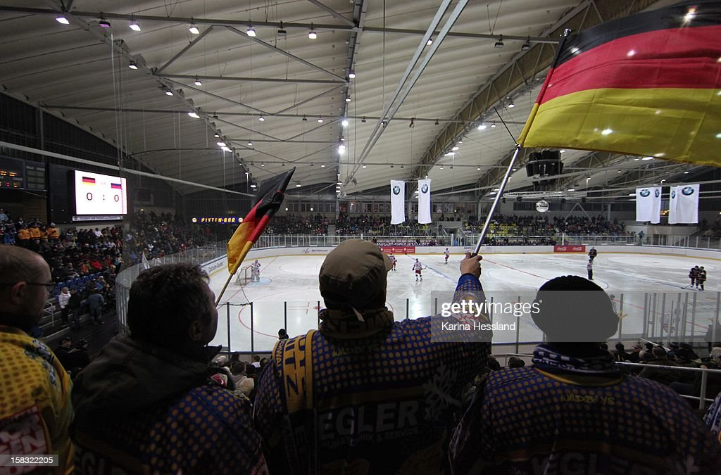 Fans of Germany with flags at the Kuechwaldhalle during the Top Teams Sotchi match between Germany and Russia at Kuechwaldhalle on December 11, 2012 in Chemnitz, Germany.