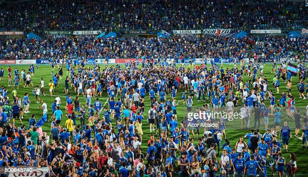 Fans of Getafe CF invade the picth after Getafe CF win La Liga 2 play off during La Liga 2 play off round between Getafe and CD Tenerife at Coliseum...