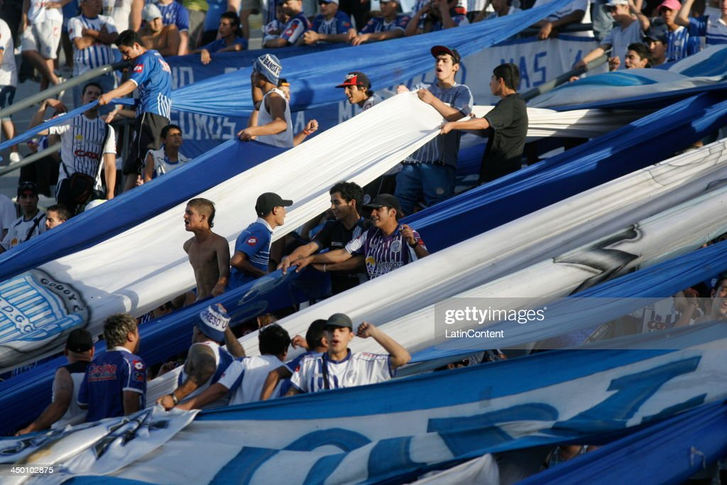 Fans of Godoy support their team during a match between Godoy Cruz and Estudiantes as part of Torneo Inicial at Mundialista Stadium on November 16, 2013 in Mendoza, Argentina.
