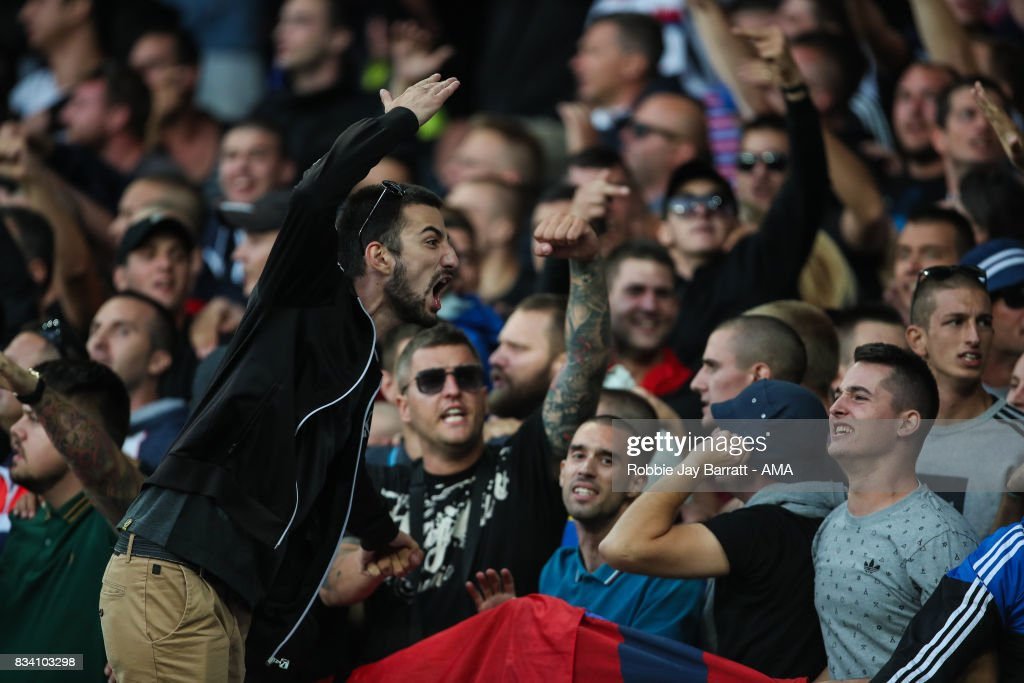 Fans of Hadjuk Split during the UEFA Europa League Qualifying Play-Offs round first leg match between Everton FC and Hajduk Split at Goodison Park on August 17, 2017 in Liverpool, United Kingdom.