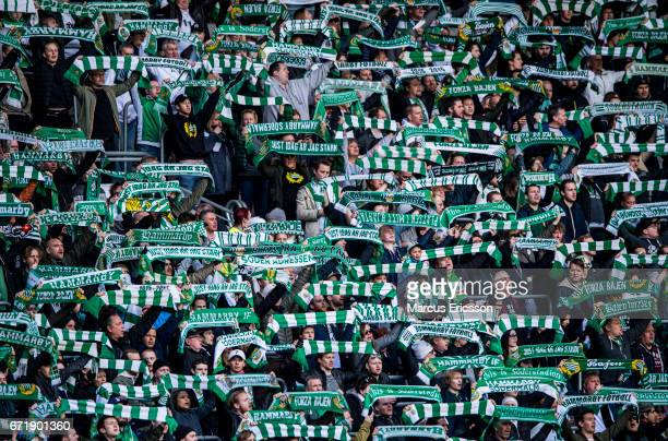 Fans of Hammarby IF during the Allsvenskan match between Hammarby IF and GIF Sundsvall at Tele2 Arena on April 23 2017 in Stockholm Sweden