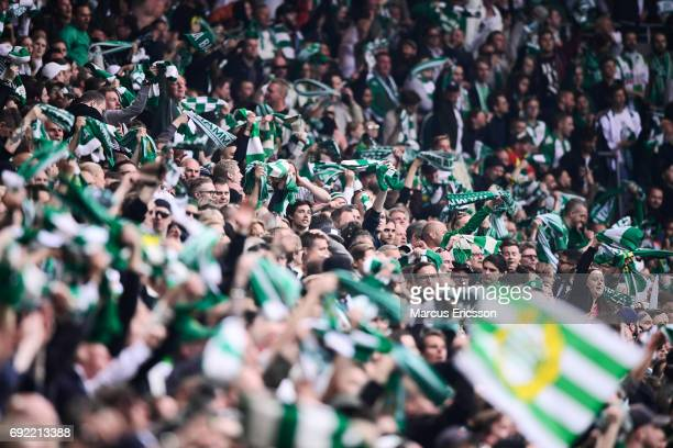 Fans of Hammarby IF during the Allsvenskan match between Hammarby IF and Djurgardens IF at Tele2 Arena on June 4 2017 in Stockholm Sweden