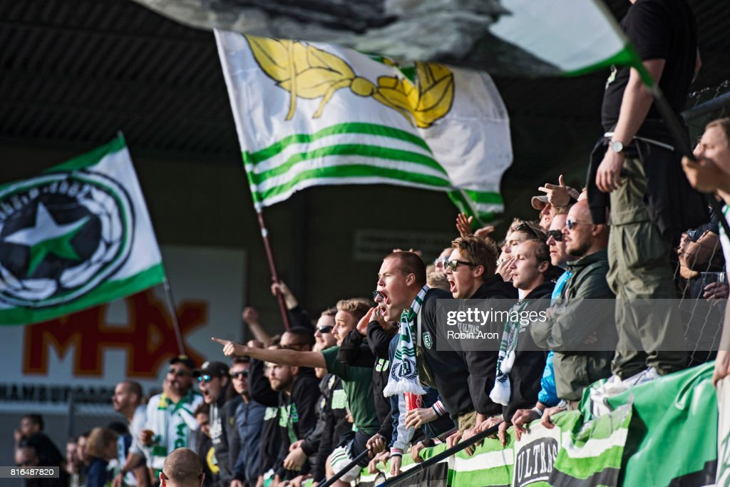 Fans of Hammarby IF during the Allsvenskan match between IF Elfsborg and Hammarby at Boras Arena on July 17, 2017 in Boras, Sweden.