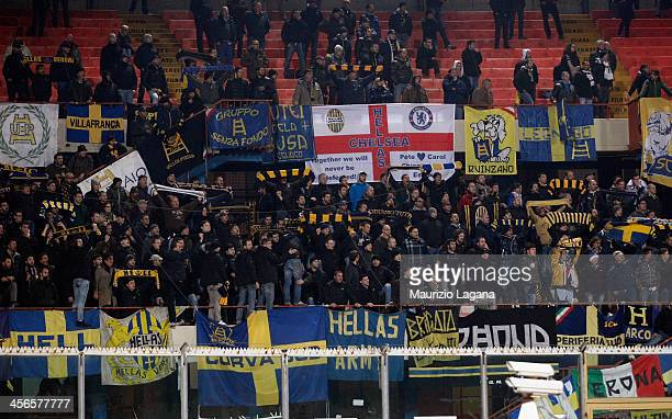 Fans of Hellas Verona are seen in the stands during the Serie A match between Calcio Catania and Hellas Verona at Stadio Angelo Massimino on December...