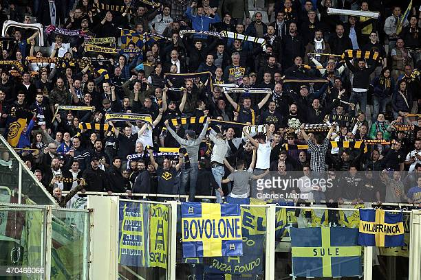 Fans of Hellas Verona FC during the Serie A match between ACF Fiorentina and Hellas Verona FC at Stadio Artemio Franchi on April 20 2015 in Florence...