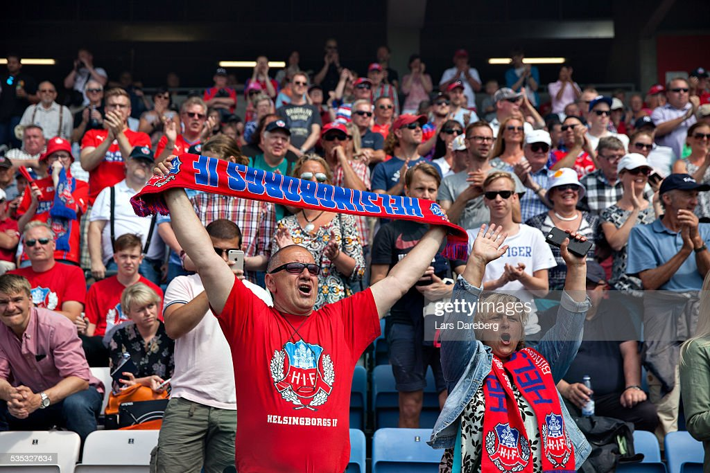 Fans of Helsingborg during the Allsvenskan match between Helsingborgs IF and IFK Goteborg at Olympia on May 29, 2016 in Helsingborg, Sweden.