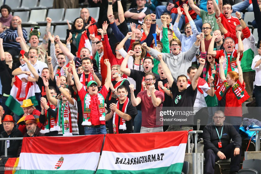 Fans of Hungary celebrate during the round of sixteen match between Hungary and Poland at Palau Sant Jordi on January 21, 2013 in Barcelona, Spain.