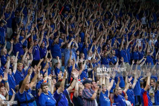 Fans of Iceland celebrate after the UEFA Women's Euro 2017 Group C match between Iceland and Switzerland at Stadion De Vijverberg on July 22 2017 in...