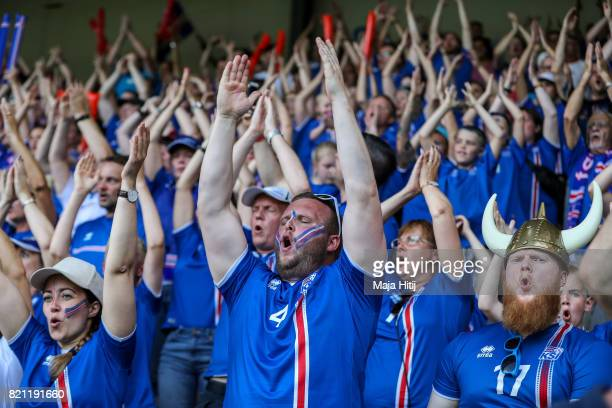 Fans of Iceland celebrate prior the UEFA Women's Euro 2017 Group C match between Iceland and Switzerland at Stadion De Vijverberg on July 22 2017 in...
