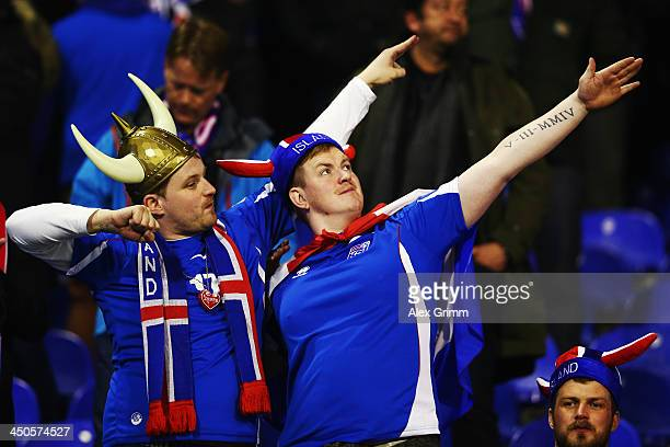 Fans of Iceland cheer prior to the FIFA 2014 World Cup Qualifier playoff second leg match between Croatia and Iceland at Maksimir Stadium on November...