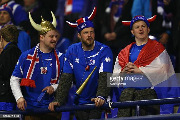 Fans of Iceland enjoy the atmosphere pior to the FIFA 2014 World Cup Qualifier playoff second leg match between Croatia and Iceland at Maksimir...