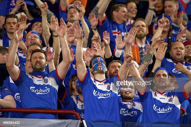 fans of Iceland fans during the UEFA Euro 2016 qualifying match between Netherlands and Iceland on September 3 2015 at the Amsterdam Arena in...
