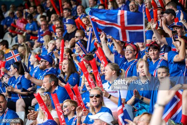 Fans of Iceland prior the UEFA Women's Euro 2017 Group C match between Iceland and Switzerland at Stadion De Vijverberg on July 22 2017 in Doetinchem...