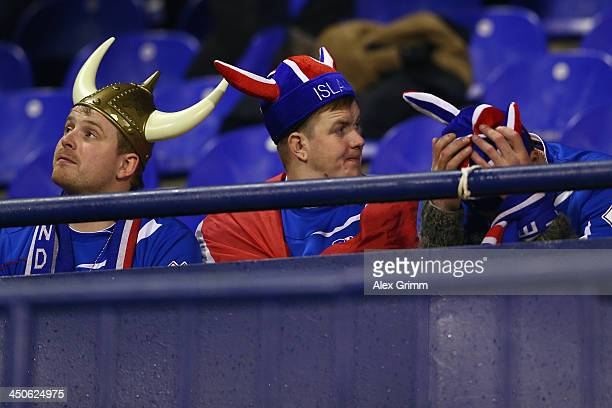 Fans of Iceland react during the FIFA 2014 World Cup Qualifier playoff second leg match between Croatia and Iceland at Maksimir Stadium on November...