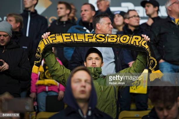 Fans of IF Elfsborg before the Allsvenskan match between IF Elfsborg and Djurgardens IF at Boras Arena on September 19 2017 in Boras Sweden