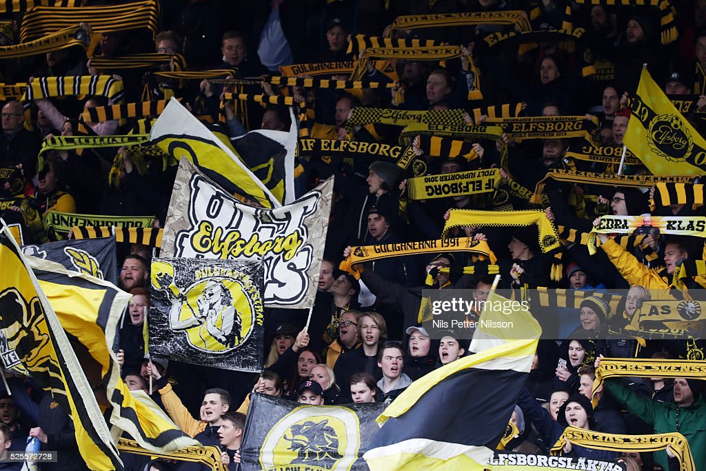 Fans of IF Elfsborg during the Allsvenskan match between IF Elfsborg and Djurgardens IF at Boras Arena on April 28, 2016 in Boras, Sweden.