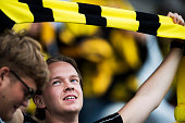 Fans of IF Elfsborg during the Allsvenskan match between IF Elfsborg and IFK Goteborg at Boras Arena on July 17 2016 in Boras Sweden