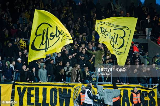 Fans of IF Elfsborg during the Allsvenskan match between IF Elfsborg and Djurgardens IF at Boras Arena on September 19 2017 in Boras Sweden
