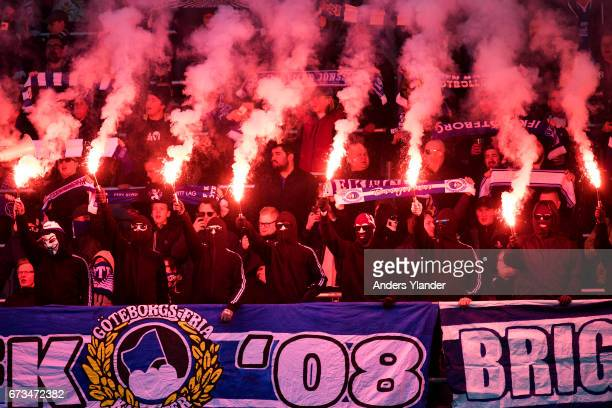 Fans of IFK Goteborg burning bengals prior the Allsvenskan match between IFK Goteborg and Hammarby IF at Gamla Ullevi on April 26 2017 in Gothenburg...