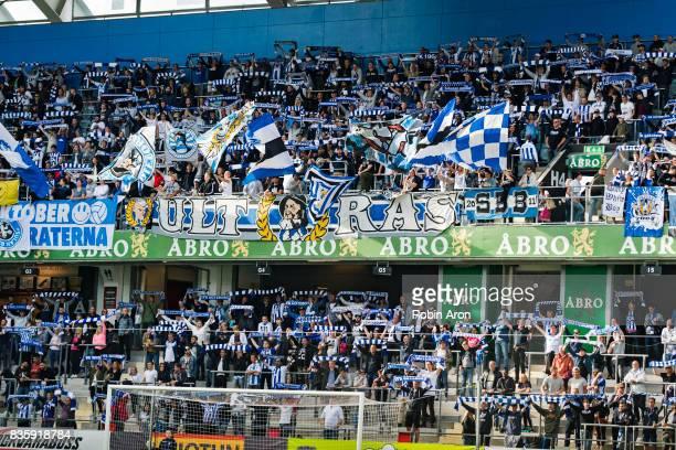 Fans of IFK Goteborg during the Allsvenskan match between IFK Goteborg and BK Hacken at Gamla Ullevi on August 20 2017 in Gothenburg Sweden