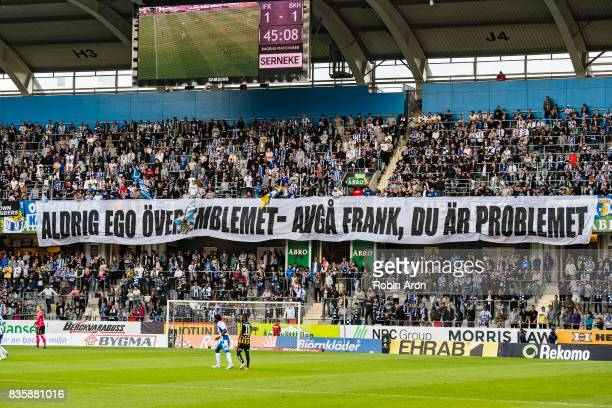 Fans of IFK Goteborg holds up tifo wanting Frank Andersson to resignduring the Allsvenskan match between IFK Goteborg and BK Hacken at Gamla Ullevi...