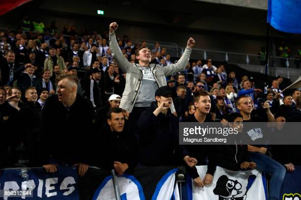 Fans of IFK Norrkoping celebrates after the victory during the Allsvenskan match between Hammarby IF and IFK Norrkoping at Tele2 Arena on October 1...