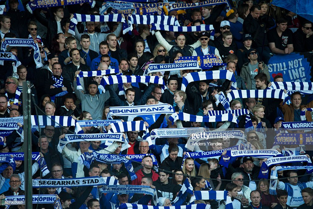 Fans of IFK Norrkoping during the Allsvenskan match between IFK Norrkoping and Helsingborgs IF at Ostgotaporten on May 2, 2016 in Norrkoping, Sweden.