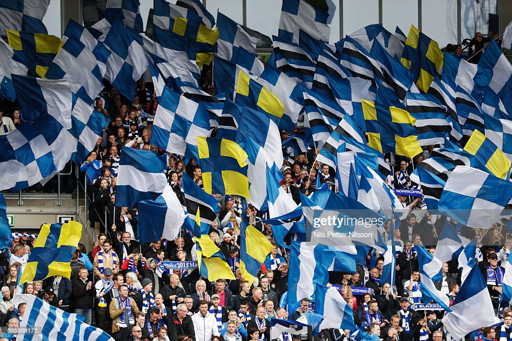 Fans of IFK Norrkoping during the Allsvenskan match between IFK Norrkoping and IF Elfsborg at Ostgotaporten on May 29, 2016 in Norrkoping, Sweden.