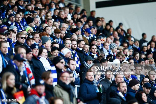 Fans of IFK Norrkoping during the Allsvenskan match between IFK Norrkoping and IF Sirius FK at Ostgotaporten on April 17 2017 in Norrkoping Sweden