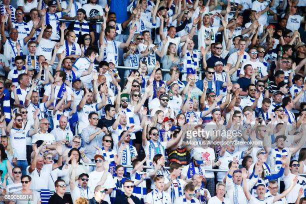 Fans of IFK Norrkoping during the Allsvenskan match between IFK Norrkoping and Halmstad BK at Ostgotaporten on May 27 2017 in Norrkoping Sweden