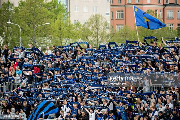 Fans of IK Sirius FK during the Allsvenskan match between IK Sirius FK and Hammarby IF at Studenternas IP on May 21 2017 in Uppsala Sweden