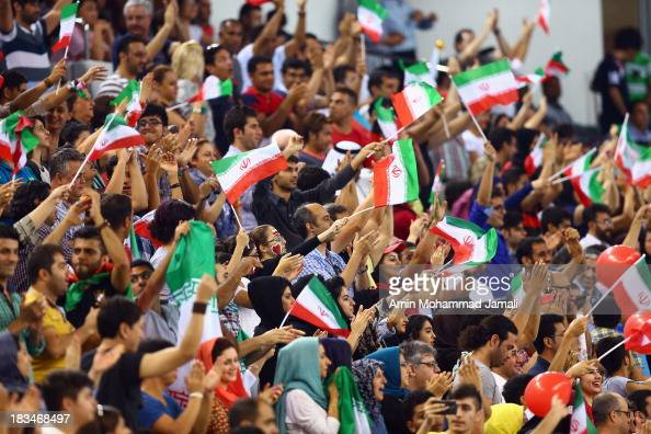 Fans of Iran during 17th Asian Men's Volleyball Championship between Iran And Korea on October 6 2013 in Dubai United Arab Emirates