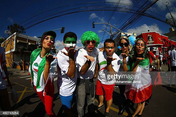 Fans of Iran during the 2014 FIFA World Cup Brazil Group F match between Iran and Nigeria at Arena da Baixada on June 16 2014 in Curitiba Brazil