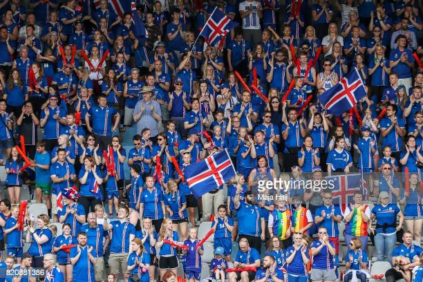 Fans of Island prior the UEFA Women's Euro 2017 Group C match between Iceland and Switzerland at Stadion De Vijverberg on July 22 2017 in Doetinchem...