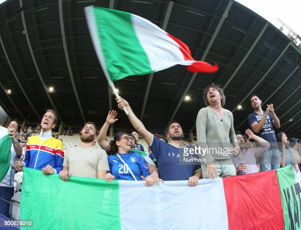 Fans of Italy during the UEFA U21 championship match between Italy and Germany at Krakow Stadium on June 24 2017 in Krakow Poland
