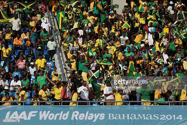 Fans of Jamaica cheer during day two of the IAAF World Relays at the Thomas Robinson Stadium on May 25 2014 in Nassau Bahamas