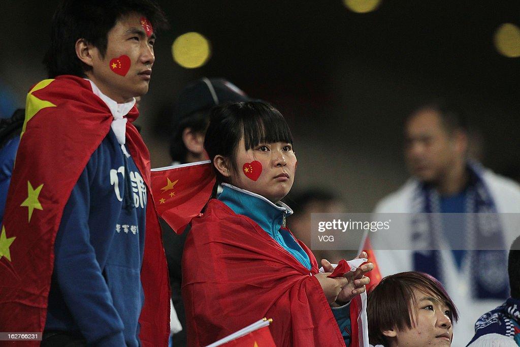 Fans of Jiangsu Sainty looks on during the AFC Champions League match between FC Seoul and Jiangsu Sainty at Seoul World Cup Stadium on February 26, 2013 in Seoul, South Korea.
