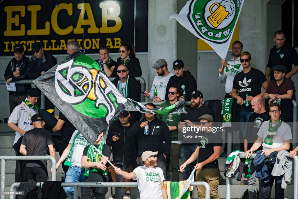 Fans of Jonkopings Sodra during the Allsvenskan match between BK Hacken and Jonkopings Sodra IF at Bravida Arena on August 27, 2017 in Gothenburg, Sweden.