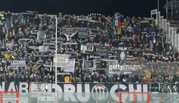 Fans of Juvents during the Serie A match between FC Crotone and Juventus FC at Stadio Comunale Ezio Scida on February 8 2017 in Crotone Italy